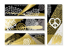 Set of modern gold banners and fashion designs. Set of modern art banners and cards in gold color with hand drawn elements. EPS10 vector Royalty Free Stock Images