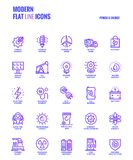 Flat line Gradient icons design-Power and Energy. Set of Modern Gradient flat line Power and Energy icons suitable for mobile concepts, web application, printed Royalty Free Stock Image