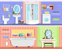 Set of modern graphic bathroom interiors: bath, showers cabin, washbasin, mirror, toilet, dressing table. Flat style vector illustration royalty free illustration