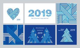 Set of modern Greeting cards and seamless patterns. Happy New Year 2019. Merry Christmas. Dark blue background. Set of modern Greeting cards and seamless stock illustration