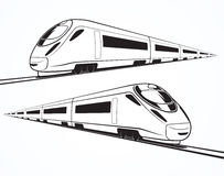 Set of modern high speed train silhouettes Royalty Free Stock Photos