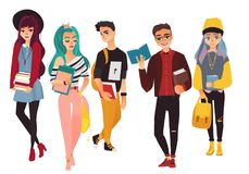 Set of modern, hipster college, university students. Boys and girls, flat cartoon vector illustration isolated on white background. Group of glamorous college Royalty Free Stock Images