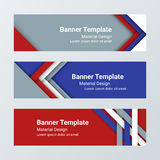 Set of modern horizontal banners, page headers in a material design style.  Royalty Free Stock Photo