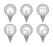 Set of modern house map pin icons Stock Photos