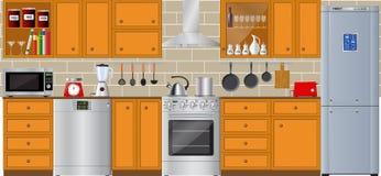 Set of modern household appliances. Refrigerator, dishwasher and washer. Set of modern household appliances. Refrigerator, dishwasher, washing machine. Silver Royalty Free Stock Photo