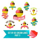 Set of modern ice cream shop badges and labels Royalty Free Stock Photos