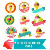Set of modern ice cream shop badges and labels Stock Images