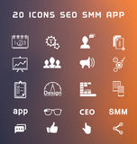 Set of modern icons app, seo, smm. Set of  icons and symbols app, seo, smm, programming and design - stock . Creative minimalist icons for your design Royalty Free Stock Photos