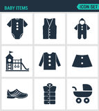 Set of modern  icons. Baby items clothes, jacket, sweater, shirt, shoes, stroller, playground. Black signs Royalty Free Stock Images