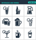 Set of modern  icons. Beverages and drinks shake, martini, bottle, bar, cocktail, alcohol, glass, soda, juice drink Black Stock Image
