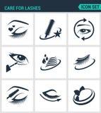 Set of modern  icons. Care for lashes cosmetics, eyes, eyebrows, eyelashes, pencil, eyeliner, mascara. Black signs Stock Photo