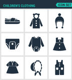 Set of modern  icons. Children s clothing shoes, jacket, raglan, cap, diapers, clothes, hat, pants. Black signs Stock Photography