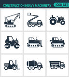 Set of modern  icons. Construction heavy machinery tractor, lift, crane, roller, bulldozer, dump truck, barrel. Black signs Royalty Free Stock Photography