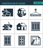 Set of modern  icons. Construction of houses plaster walls, eco-house, bar, tap, break down the walls, windows, doors Stock Photography