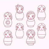 Set of modern icons doll matryoshka Royalty Free Stock Photos