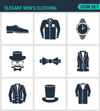 Set of modern  icons. Elegant men s clothing shoes, shirt, hat watches, glasses, butterfly, vest, jacket, hat, cone coat. Black sign on white background Royalty Free Stock Photos