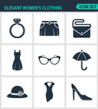 Set of modern  icons. Elegant women s clothing ring, skirt, bag, clutch, dress, glasses, umbrella, hat, shoes. Black signs Royalty Free Stock Photo