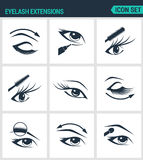 Set of modern  icons. Eyelash extensions eyelashes, eyes, mascara, eye shadow, eyebrow, eyeliner, increase. Black signs. On a white background. Design isolated Royalty Free Stock Image