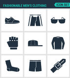 Set of modern  icons. Fashionable men s clothing Sneakers shorts, glasses, gloves, cap, sweater, socks, pants, belt Black Royalty Free Stock Images