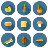 Set of modern icons in flat shadow style on vegan Stock Photo