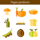 Set of modern icons in flat style on vegan food Stock Image