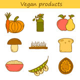 Set of modern icons in hand drawn style on vegan Stock Images