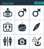 Set of modern  icons. Health Care rengen woman, Man, weight, apple, joints, first aid kit, laboratory. Black signs. On a white background. Design isolated Royalty Free Stock Photos