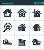 Set of modern icons. House home selling home, shelter animal, power, search, seed agent, motor home, garage, car Black stock illustration
