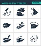 Set of modern icons. Makeup lipstick cosmetics lips, Lip pencil, lipstick, gloss, protection. Black signs vector illustration