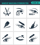Set of modern  icons. Makeup mascara eyebrow pen Care for lashes, eyeliner, mascara, pencil. Black signs Stock Image