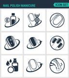 Set of modern  icons. Nail polish manicure, care, shine. Black signs on a white background. Design isolated symbols Royalty Free Stock Photos