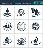 Set of modern  icons. Properties cosmetics formula Beauty . Black signs on a white background. Design isolated symbols. And silhouettes Stock Images