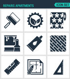 Set of modern  icons. Repairs apartments roller gear, wallpaper, paint, glue, board level layout, square. Black signs Royalty Free Stock Images