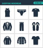 Set of modern  icons. Shopping menswear T-shirt, skirts, pants, sneakers, leather jacket, shirt, jacket. Black signs Stock Image