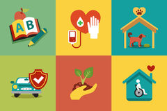 Set of modern icons in style flat on social issues Stock Images