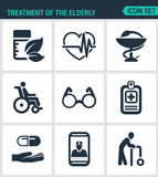 Set modern  icons. Treatment the elderly medicine, heart palpitations, pharmacy, disabled person, glasses, list pills, phone Royalty Free Stock Photography