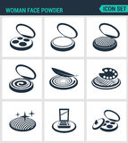 Set of modern  icons. Woman face powder, reticulation, blush, eye shadow. Black signs on a white background. Design isolated. Symbols and silhouettes Royalty Free Stock Photography