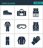 Set of modern  icons. Work clothes shoes, bag, vest, working, suit, protective glasses, sweater, gloves. Black signs. On a white background. Design isolated Stock Photo