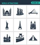 Set of modern  icons. World attractions Mosque, rapa nui, Bridge, Statue Liberty, Eiffel Tower, Church, Wall, Pyramid. Black Royalty Free Stock Image