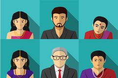Set of modern Indian people in vector portait. Design Stock Photos