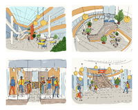 Set of modern interior shopping center. Collection various space mall. Colorful sketch illustration. Set of modern interior shopping center, Collection various vector illustration
