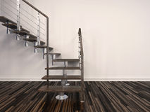Set of modern internal steps in a house. With open treads and a wire balustrade curving up to the left against a white wall from a parquet floor Royalty Free Stock Photos