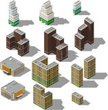 Set of modern isometric buildings Royalty Free Stock Image