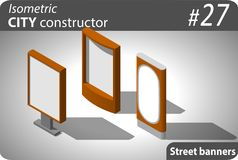 Set of modern isometric street placards Stock Image