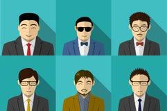 Set of modern Korean people in vector portait. Design Stock Images