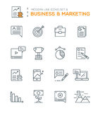 Set of Modern Line icons of Business & Marketing icons Royalty Free Stock Photo