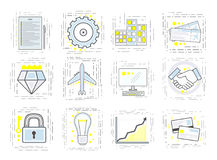 Set of modern linear business icons. Signs for the startup. stock illustration