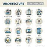 Set of modern linear icons with architecture elements. Stock Images