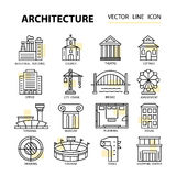 Set of modern linear icons with architecture elements. Royalty Free Stock Photos