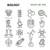 Set of modern linear icons with biology elements. Vector illustration for the science of design Stock Photos